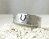 Sterling Horseshoe Ring- Silver Hammered Band Ring