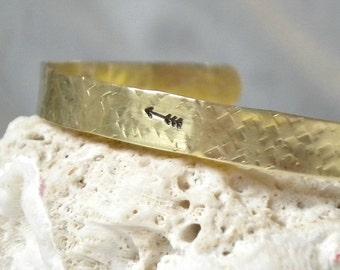 Arrow Bracelet Gold Bangle Brass Hammered Cuff
