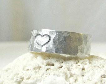 Sterling Heart Ring- Silver Hammered Band Ring