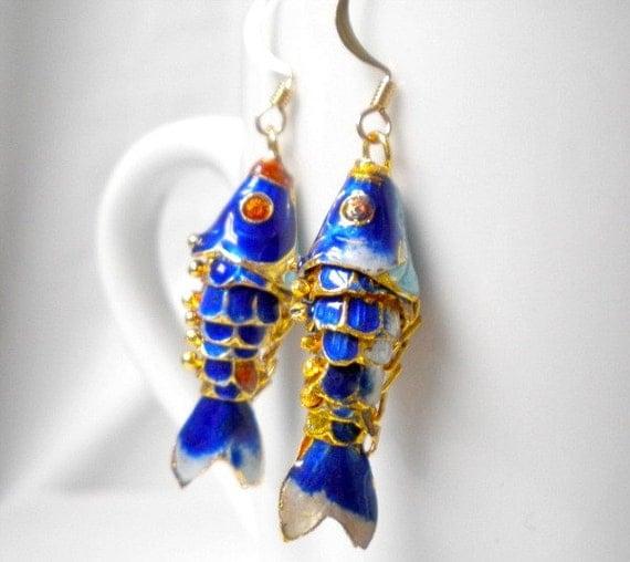 ON SALE-Fish Earrings Cloisonne Navy Blue Koi Enamel