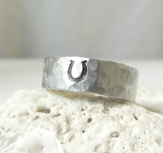 Mens Sterling Horseshoe Ring- Silver Hammered Band Ring