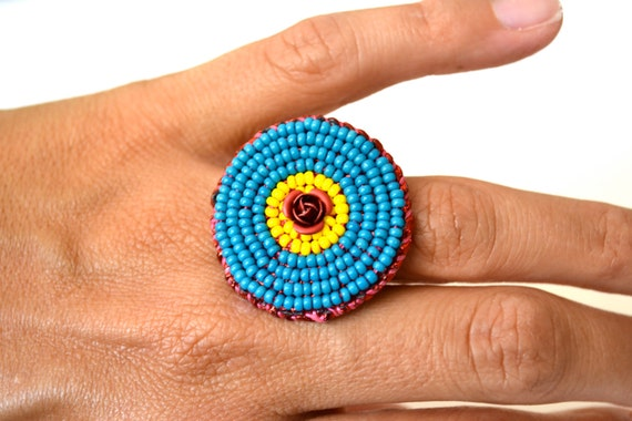 Red Rose bead embroidered Ring