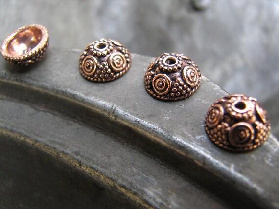 4 pcs Antiqued Solid Copper Bead Caps-COMNS002