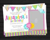 Candy Shop Sweet Celebration Rainbow Birthday Invitation Digital File YOU-PRINT