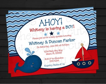 Ahoy It's a Boy Nautical Baby Shower Invitation Digital File YOU-PRINT