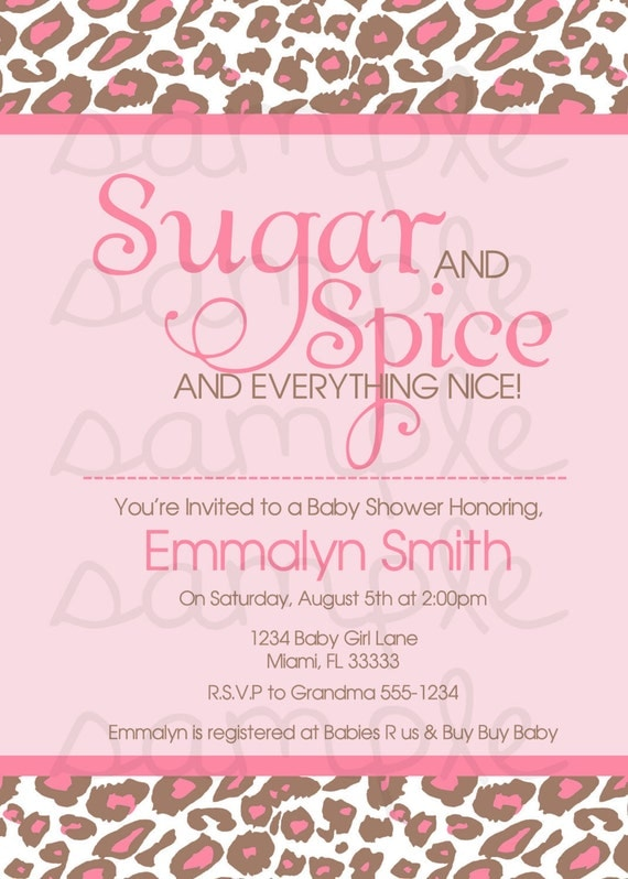 Items Similar To Sugar U0026 Spice And Everything Nice Baby Shower Invitation  Digital File On Etsy