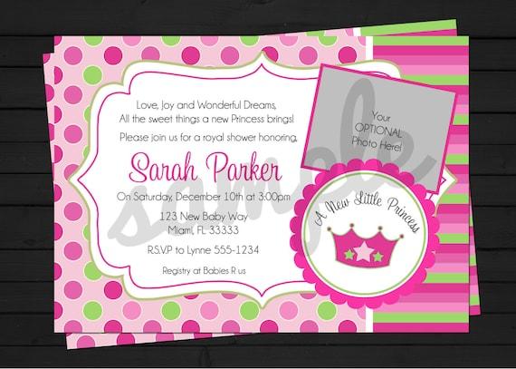 Little Princess Baby Shower - Princess - Pink and Green - A New Princess - Crown - DIY -  Invitation Digital File YOU-PRINT