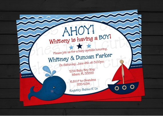 items similar to ahoy it's a boy nautical baby shower invitation, Baby shower invitations