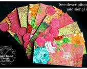 LAMINATED Cash Envelope System in Pink Mixed Media Look (10 envelopes)