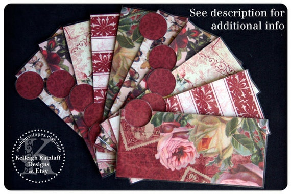LAMINATED Cash Envelope System in Vintage Rose Red (10 envelopes)