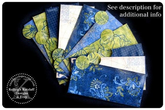 LAMINATED Cash Envelope System in Navy Blue and Olive Green (10 envelopes)