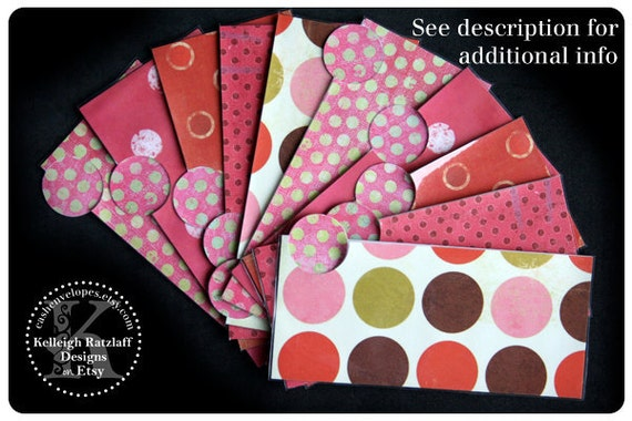 LAMINATED Cash Envelope System in Red, Pink and Brown Dots (10 envelopes)