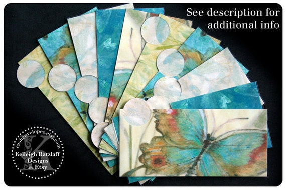 LAMINATED Cash Envelope System in Blue Butterfly (10 envelopes)