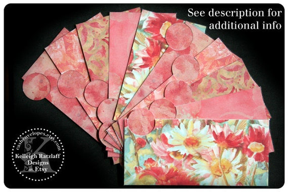LAMINATED Cash Envelope System in Coral Watercolor (10 envelopes)