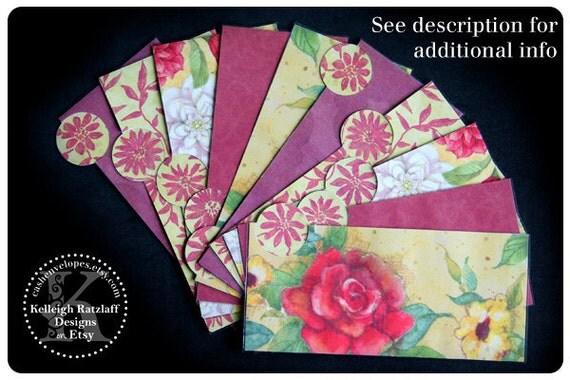 LAMINATED Cash Envelope System in Garden Roses (10 envelopes)