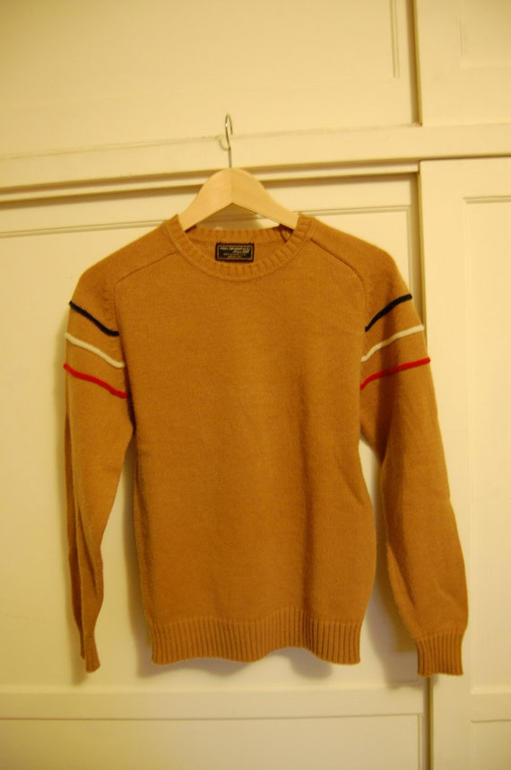 Sale 15% off - Vintage 80s tan Van Heusen sweater with red, white and blue stripes Womens Size Small Medium S M