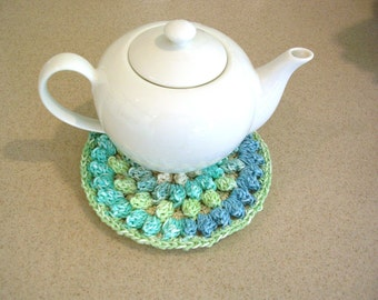 Blue Green Cotton Crochet Potholder - Crochet Hot Pad - Crochet Trivet - Kitchen Decor - Round Crochet Pot Holder - Boho Potholder