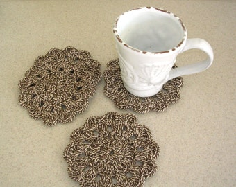 Crochet Coasters - Round Crochet Doily Coasters - Brown Drink Coasters - Housewarming Gift