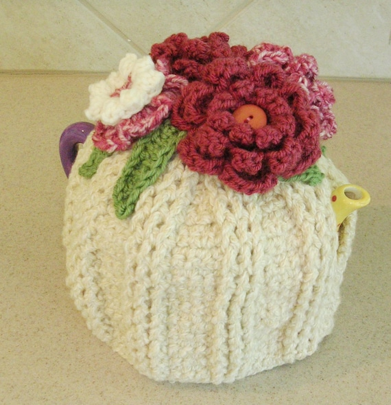 Crochet Teapot Cozy -  Tea Pot Cozy with Crocheted Flowers