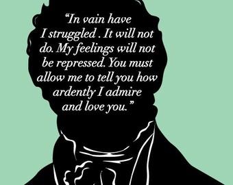 Literary Art Print - Jane Austen - Mr Darcy Proposal - Pride and Prejudice - Bookish - JAPP013
