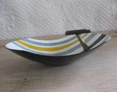 mid century modern striped enamel ashtray