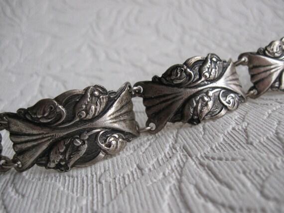 art nouveau silver panel bracelet