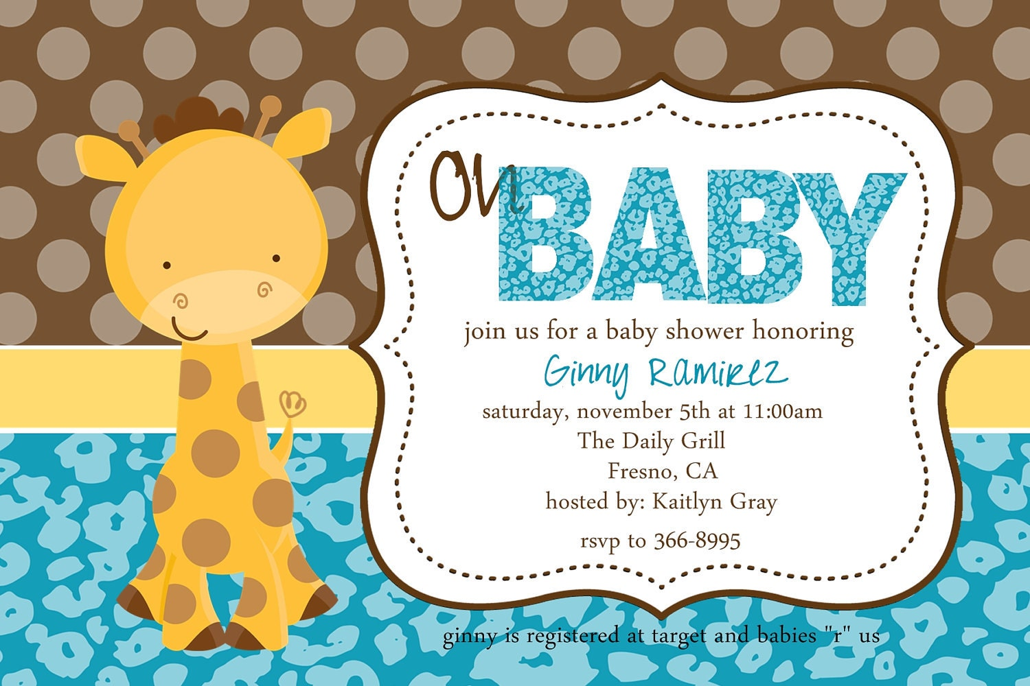 Baby Giraffe Baby Shower Invitation by beenesprout on Etsy