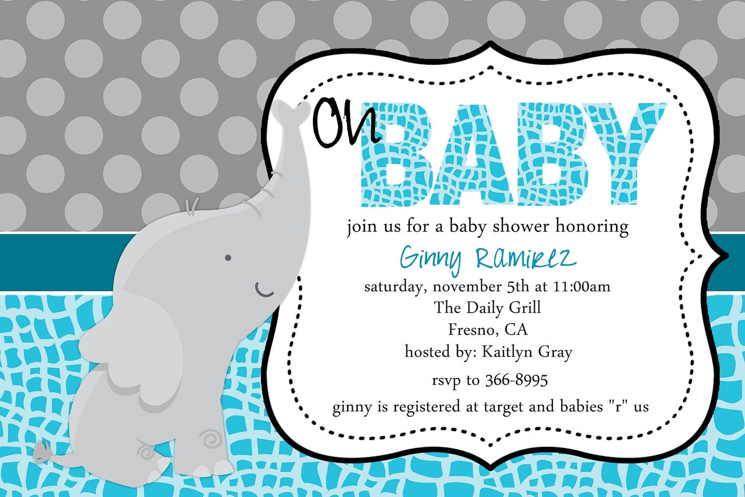 baby elephant baby shower invitation blue pink purple little