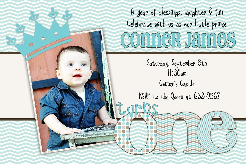 Little Prince Birthday One First 1st Birthday Invitation