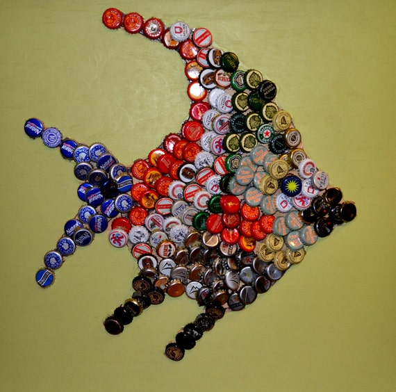 Items similar to fish wall art using bottle caps on etsy for How to make beer bottle cap art