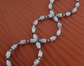 Blue Aquamarine, Crystal Quartz and Gray Hematite Unisex Necklace with Sterling Silver Clasp