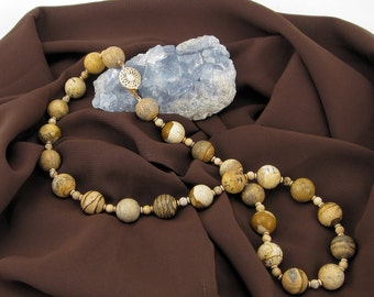 Picture Jasper and 14K Gold-Filled Beads Necklace with 14K Gold-Filled Clasp