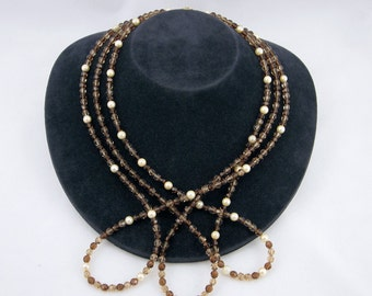 Cultured Freshwater Yellow Pearl, Light Colorado and Smoked Topaz Swarovski Crystal Necklace with14K Yellow Gold-Filled Clasp