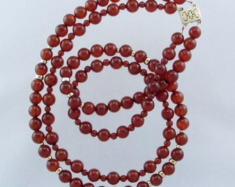 Stunning Red Carnelian Gemstone Beads and 14K Gold Filled Beads with 14K Yellow Gold Clasp