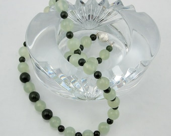 Gorgeous Green Nephrite Jade and Misty Green Serpentine Necklace with Sterling Silver Clasp