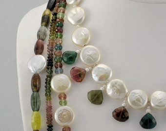 Magnificent Multistrand Coin Pearl and Rainbow Tourmaline Showstopper