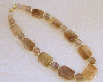 Intricately Rutilated Rose Red, Beige, and Taupe Quartz with 14K Gold Filled Beads