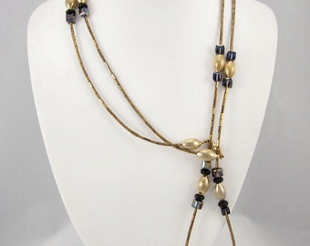 Black Swarovski Crystal, Czech Glass, Bronze Glass Bugle Bead and Vintage Brass Bead Necklace