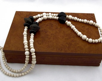 Unique Ivory-Beige Riverstone and Charcoal Handmade Pottery Necklace with Sterling Silver Clasp