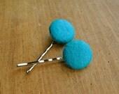Felt Covered Hair Pins // Teal, Peacock Blue // Round Button Hair Pin // Set of 2
