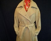 70s M 13 Wool Trench Winter Coat Camel