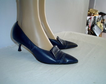 50s 6 Leather Stiletto Heels Pumps SHOES Navy Blue Brogue