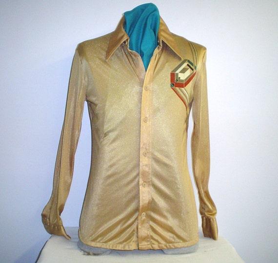 """70s Men's 15 1/2"""" M Long Tall Beige/Tan Disco Shirt Roland Kosser"""