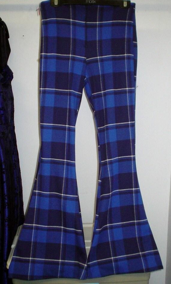 """31"""" S/M Men's Disco Blue Plaid Travolta BELL BOTTOMS Pants WeirdoWear"""