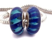 Dark Blue with Light Blue Accents European Style Lampwork Glass Bead with a Sterling Silver Core