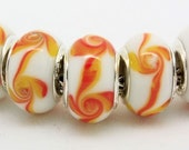 White with Orange and Yellow European Style Large Hole Bead with a Sterling Silver Core