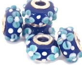 SALE - Blue and White Textured European Style Large Hole Bead with a Silver Plated Core