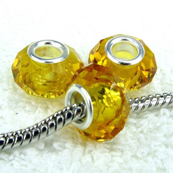 Amber Faceted European Style Large Hole Bead with a Sterling Silver Core
