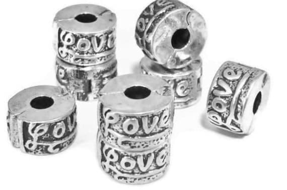 SALE - TWO Love Silver Plated Lock Clips  for European Style Large Hole Jewelry