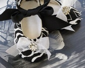 Baby and Toddler Shoes - Couture Ballet Slipper - White Black Rose Brocade - Baby Souls Ballet Slippers